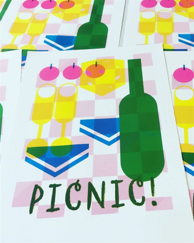 Picnic! - screenprint on Fabriano © Jonathan Brennan, 2017