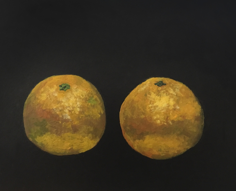 Oranges (on the dashboard) - acrylic on board © Jonathan Brennan, 2017