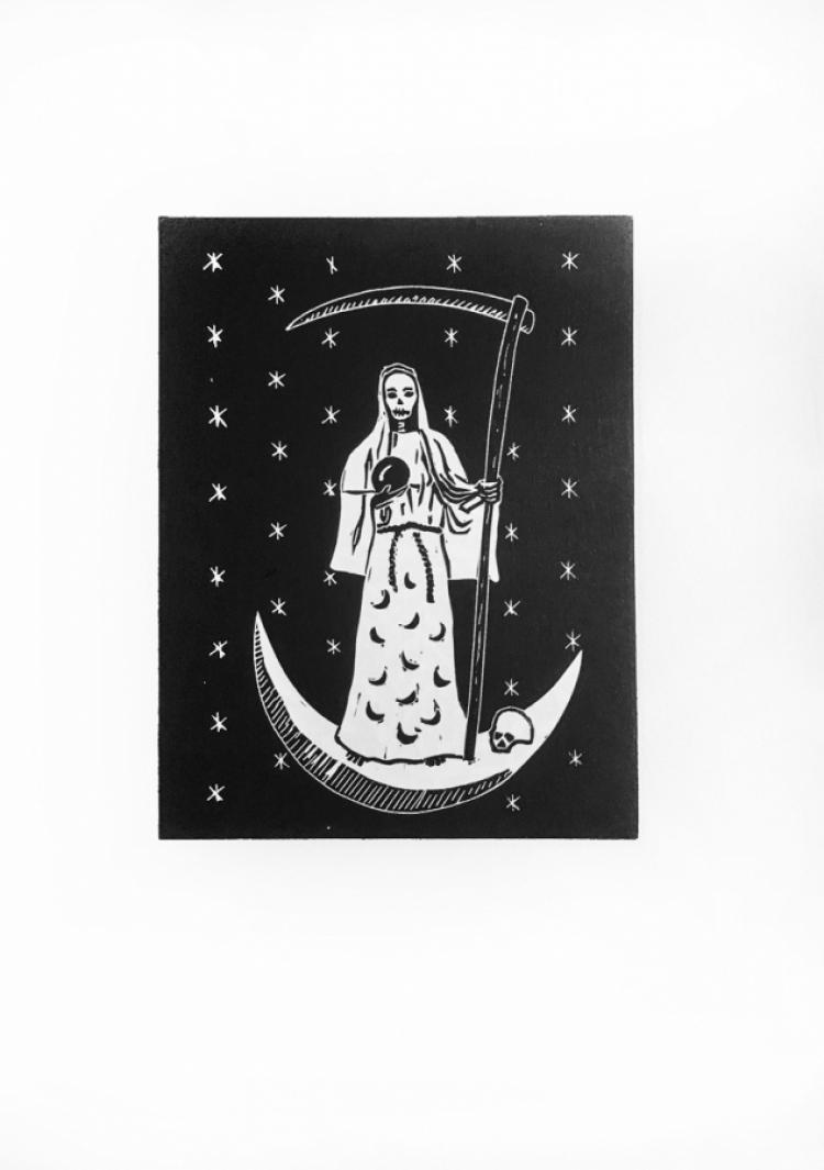 La Santa Muerte - linocut print on Zerkall paper © Jonathan Brennan, 2017