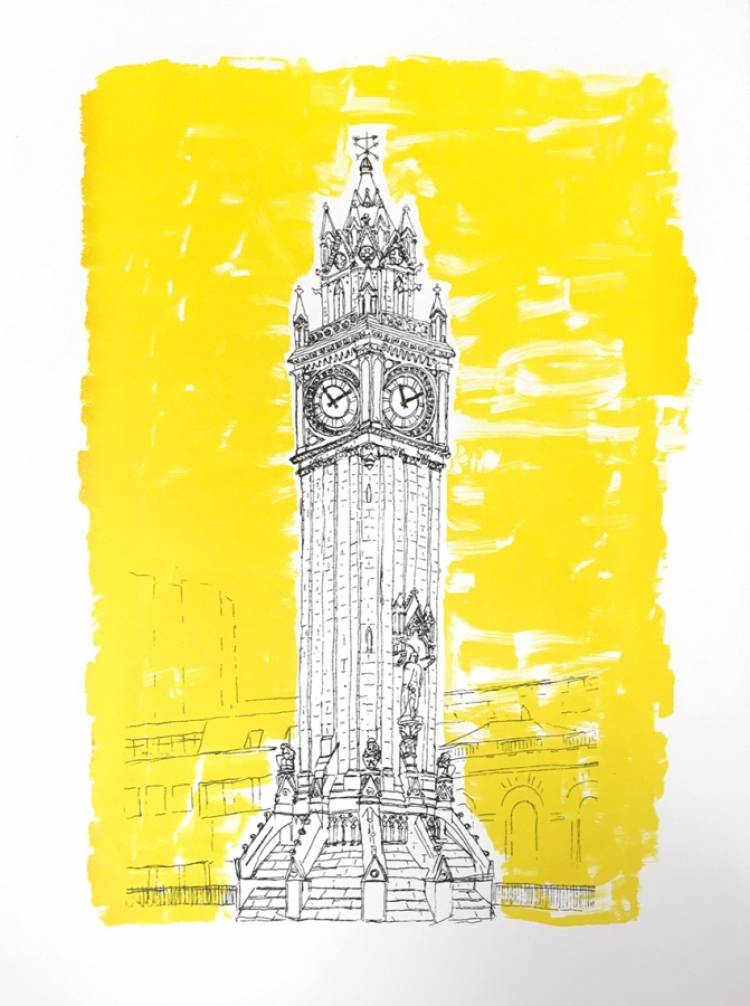 Albert Memorial Clock - Screenprint based on original drawing - full © Jonathan Brennan
