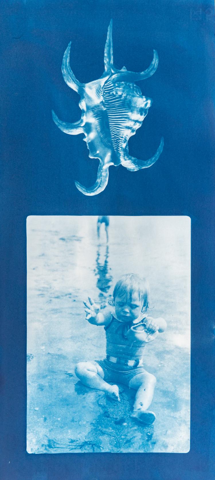 Bathing boy with conch 1/4 V.E. Cyanotype on Fabriano © Jonathan Brennan, 2020