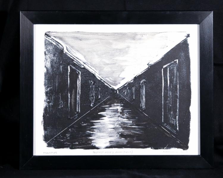 Belfast Alley, Rain (Nevis) - monotype on Zerkall paper © Jonathan Brennan, 2017