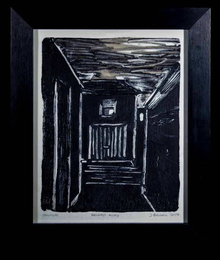 Belfast Alley - monotype on Zerkall paper © Jonathan Brennan, 2017
