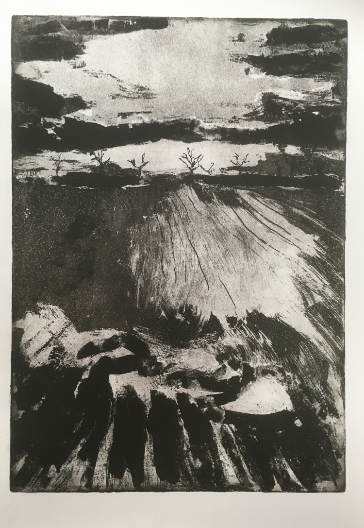 Dusk from the Dark Hedges - etching / aquatint on Hahnemuhle © Jonathan Brennan, 2018
