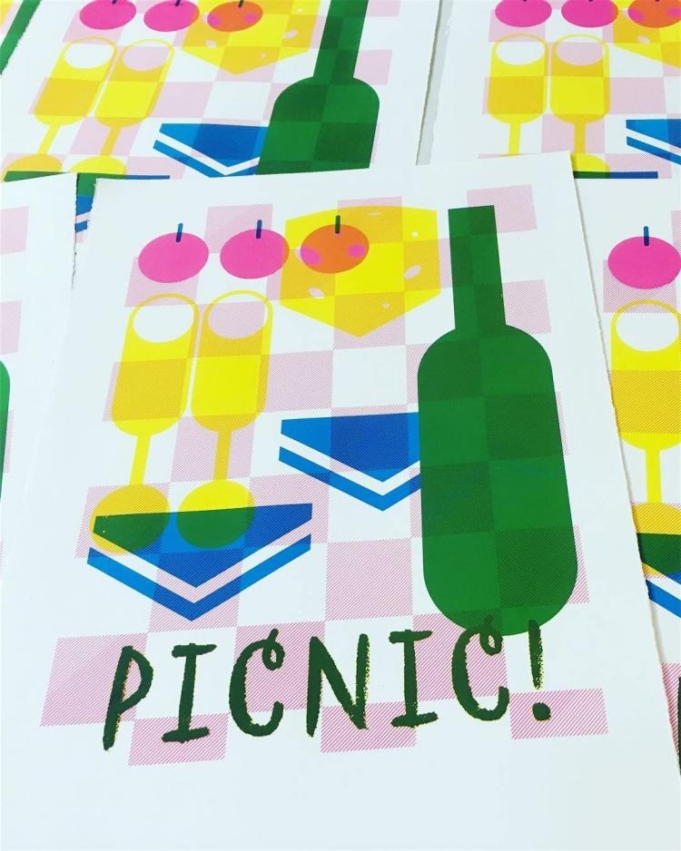 Picnic! - screenprint on Fabriano © Jonathan Brennan, 2017