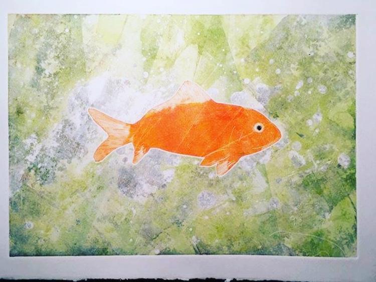 Goldfish - monoprint / oil on paper © Jonathan Brennan, 2018.