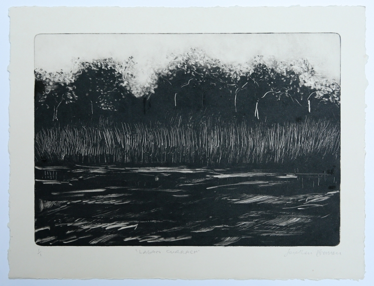 Lagan Currach. Monotype on Fabriano Rosaspina © Jonathan Brennan