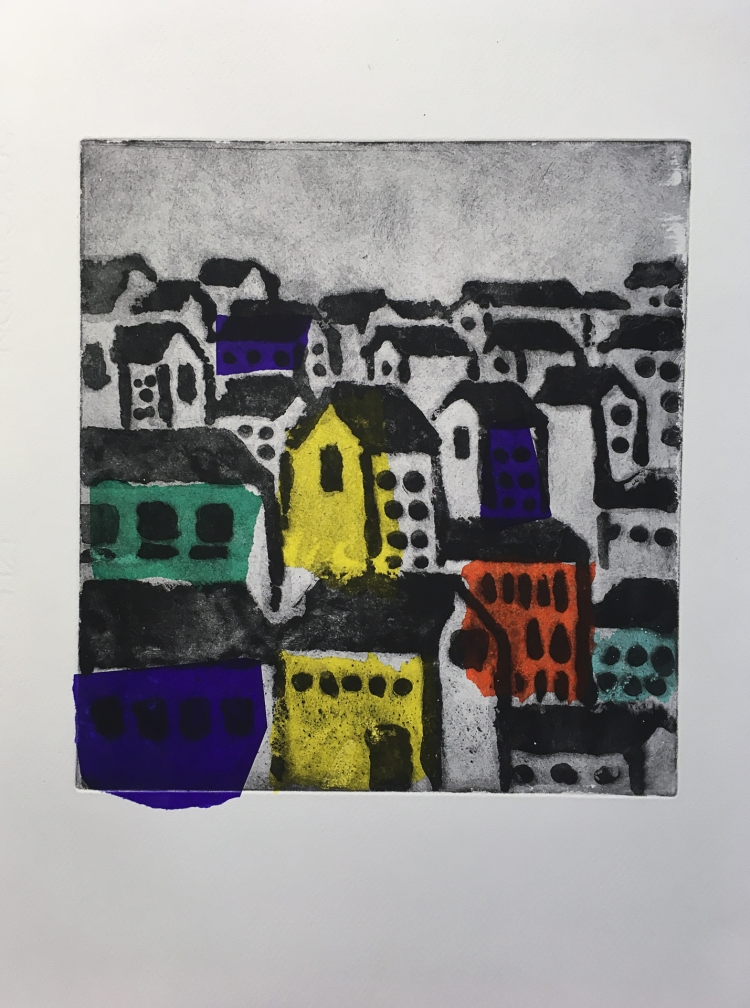 Old Town - etching with chine collé © Jonathan Brennan, 2017