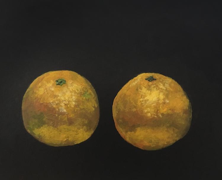 Oranges (on the dashboard) - acrylic on board © Jonathan Brennan, 2017