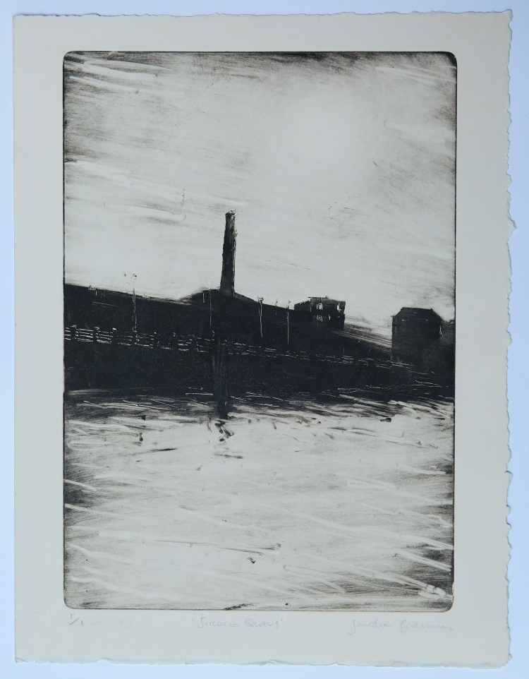 Sirocco Quays. Monotype on Fabriano Rosaspina © Jonathan Brennan