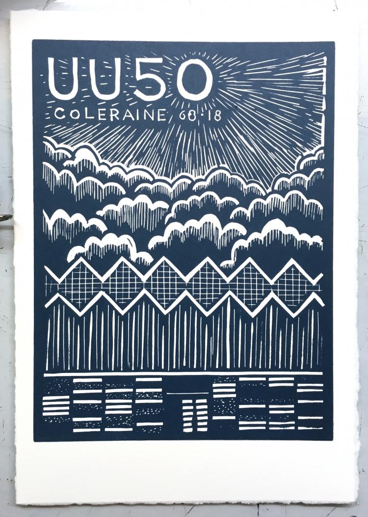 UU50 (Teal) - linocut print on Hahnemuhle © Jonathan Brennan, 2018