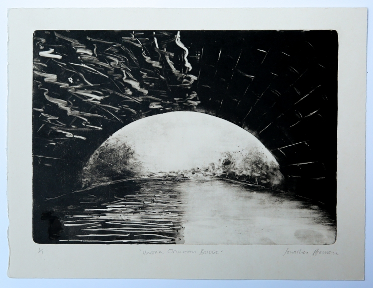 Under Ormeau Bridge. Monotype on Fabriano Rosaspina © Jonathan Brennan