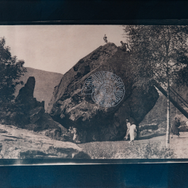 Ammonite. Bowder stone 1/4 V.E. Tea-toned cyanotype and silkscreen on Fabriano © Jonathan Brennan, 2020