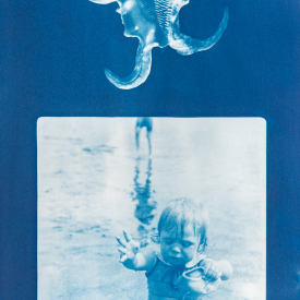 Bathing boy with conch 1/4 V.E. Cyanotype on Fabriano © Jonathan Brennan, 2020