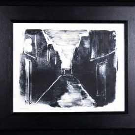 Belfast Alley, Rain - monotype on Zerkall paper © Jonathan Brennan, 2017
