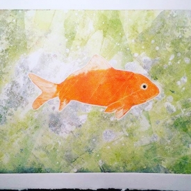 Goldfish - monoprint / oil on paper © Jonathan Brennan, 2018.
