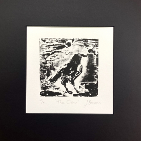'The Crow'. Etched lino on Fabriano Rosaspina © Jonathan Brennan (2020)