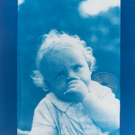 Young child with trochocyathus. 1/4 V.E. Cyanotype and silkscreen on Fabriano © Jonathan Brennan, 2020