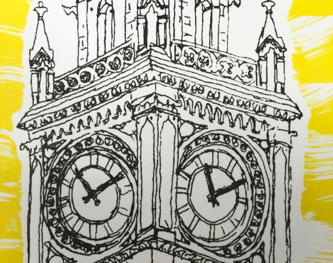 Albert Memorial Clock - Screenprint based on original drawing © Jonathan Brennan 2017